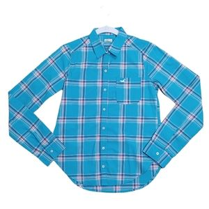 NWOT Hollister Blue Plaid Cotton Button Down Shirt